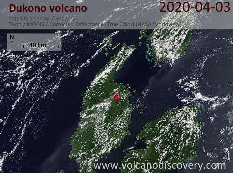 Satellite image of Dukono volcano on  3 Apr 2020