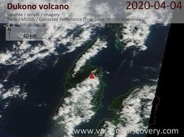 Satellite image of Dukono volcano on  4 Apr 2020