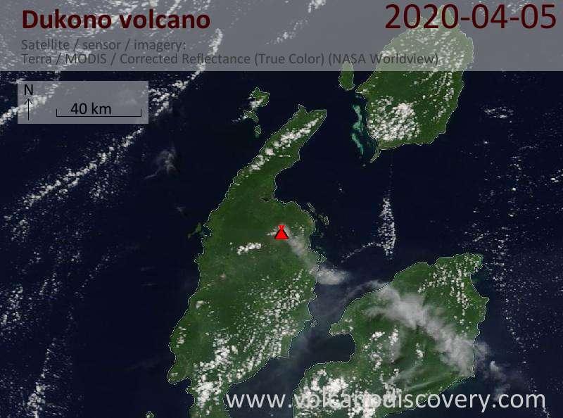 Satellite image of Dukono volcano on  5 Apr 2020