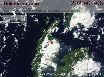 Satellite image of Dukono volcano on  6 Apr 2020