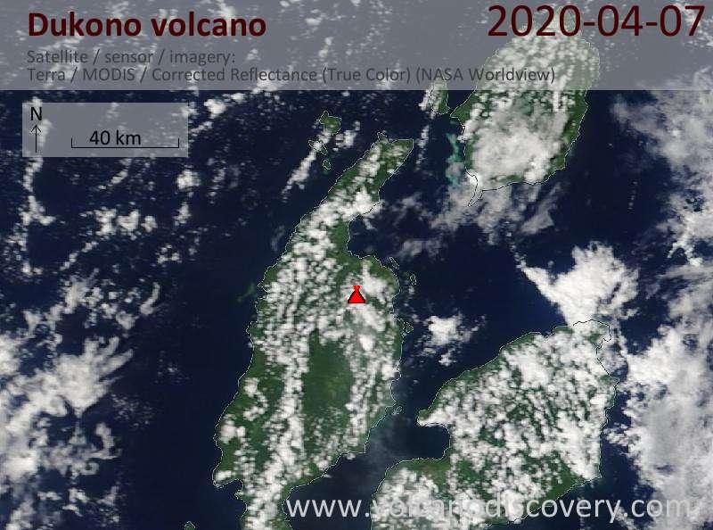 Satellite image of Dukono volcano on  7 Apr 2020