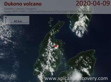 Satellite image of Dukono volcano on  9 Apr 2020