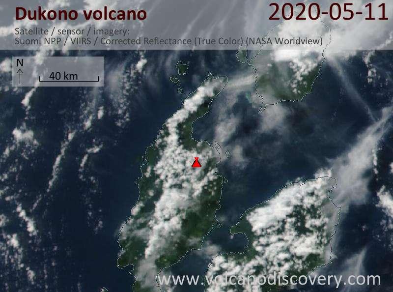 Satellite image of Dukono volcano on 11 May 2020