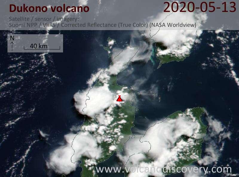 Satellite image of Dukono volcano on 13 May 2020