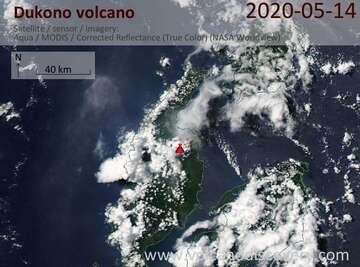 Satellite image of Dukono volcano on 14 May 2020