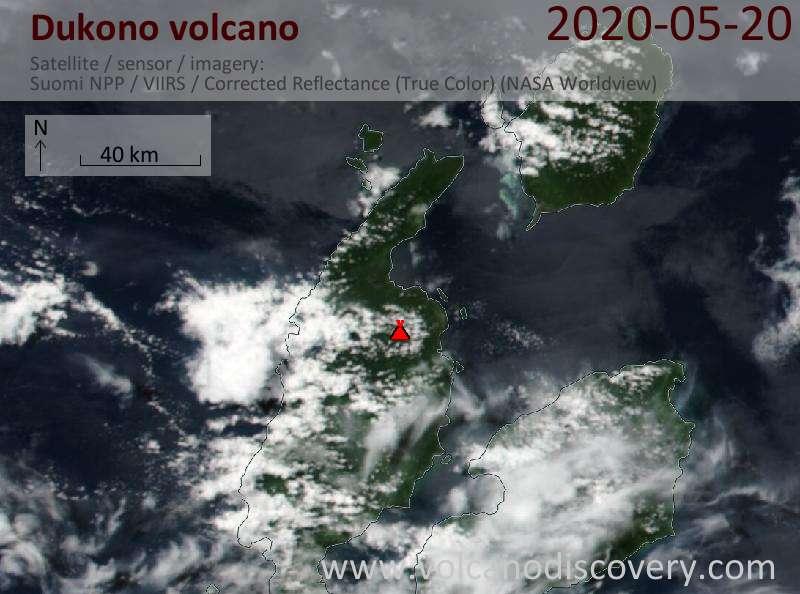 Спутниковое изображение вулкана Dukono 20 May 2020