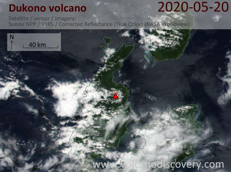 Satellite image of Dukono volcano on 20 May 2020