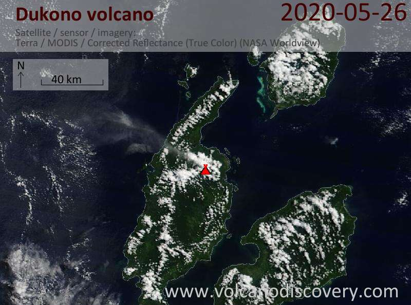 Satellitenbild des Dukono Vulkans am 26 May 2020