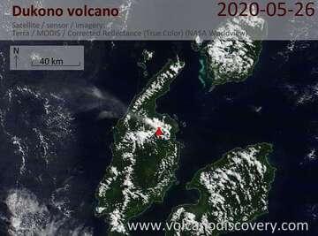 Satellite image of Dukono volcano on 26 May 2020