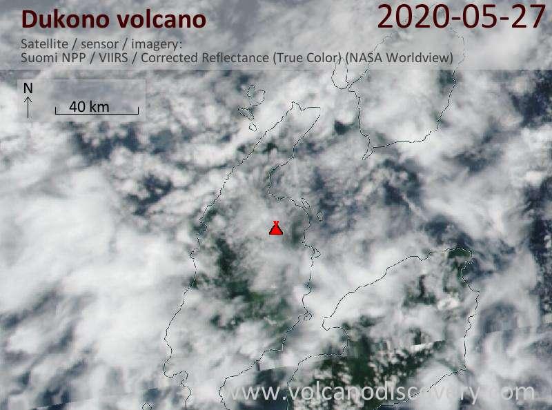 Satellitenbild des Dukono Vulkans am 28 May 2020