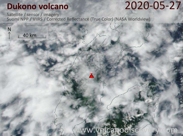 Satellite image of Dukono volcano on 28 May 2020