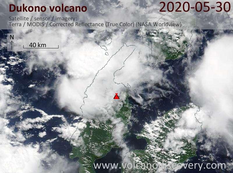 Satellitenbild des Dukono Vulkans am 30 May 2020