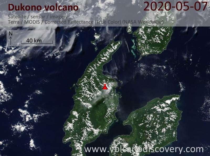Satellite image of Dukono volcano on  7 May 2020