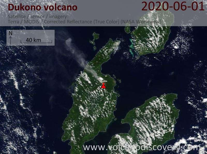 Спутниковое изображение вулкана Dukono  1 Jun 2020