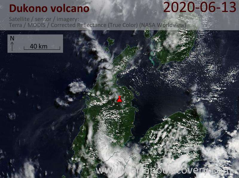 Спутниковое изображение вулкана Dukono 13 Jun 2020