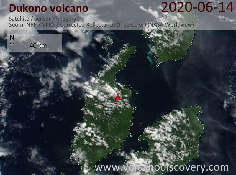 Спутниковое изображение вулкана Dukono 14 Jun 2020