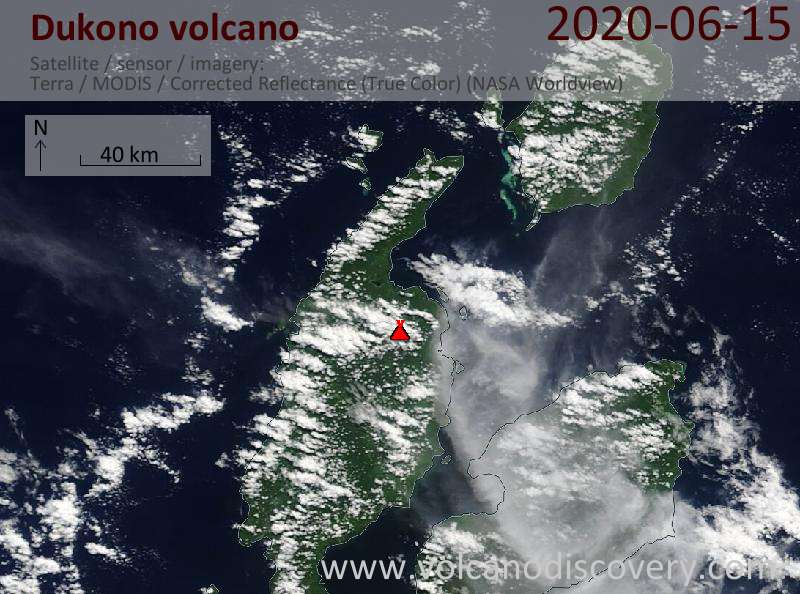 Спутниковое изображение вулкана Dukono 15 Jun 2020