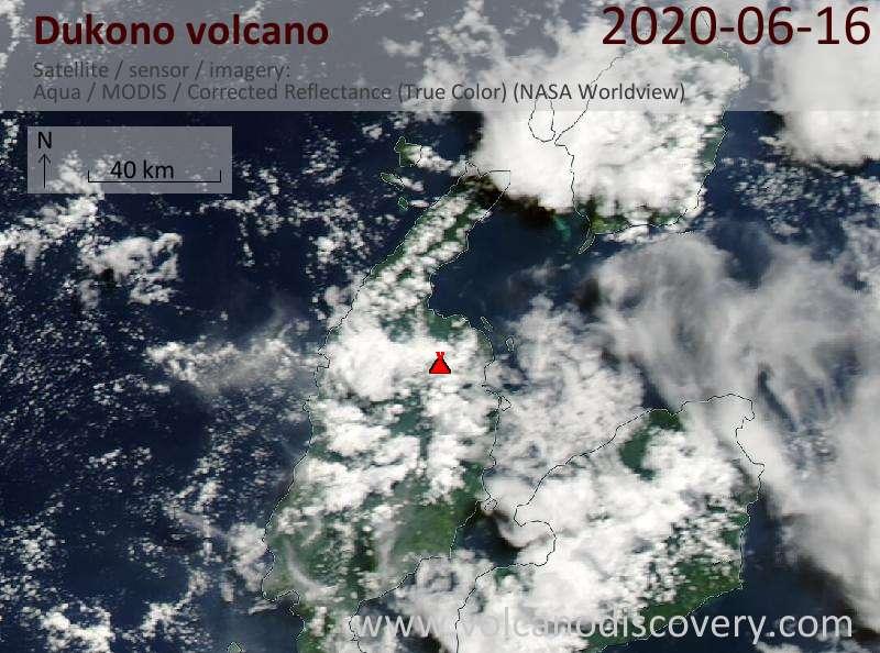 Satellite image of Dukono volcano on 16 Jun 2020