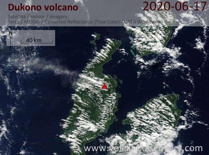 Satellitenbild des Dukono Vulkans am 17 Jun 2020