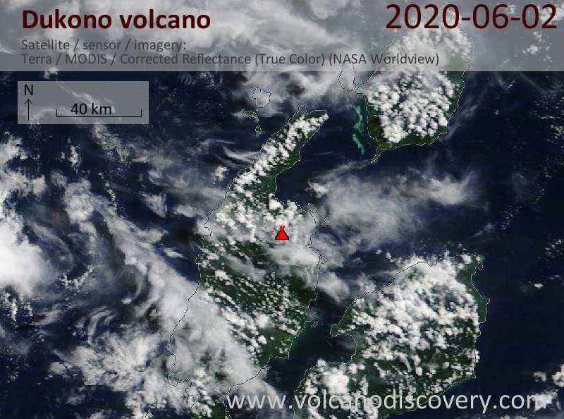 Спутниковое изображение вулкана Dukono  2 Jun 2020