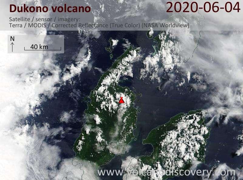 Спутниковое изображение вулкана Dukono  4 Jun 2020
