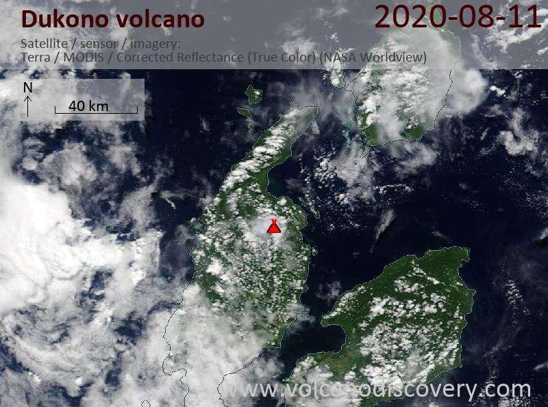 Satellite image of Dukono volcano on 11 Aug 2020