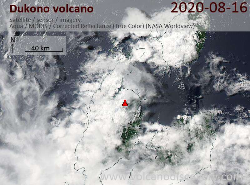 Satellitenbild des Dukono Vulkans am 17 Aug 2020