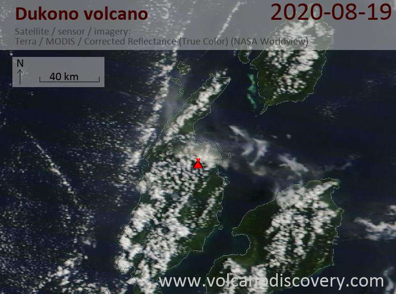 Satellite image of Dukono volcano on 19 Aug 2020