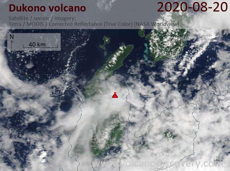 Satellite image of Dukono volcano on 20 Aug 2020