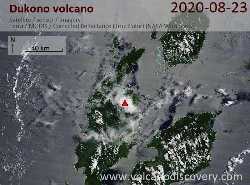 Satellite image of Dukono volcano on 23 Aug 2020