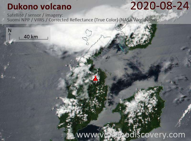 Satellite image of Dukono volcano on 24 Aug 2020