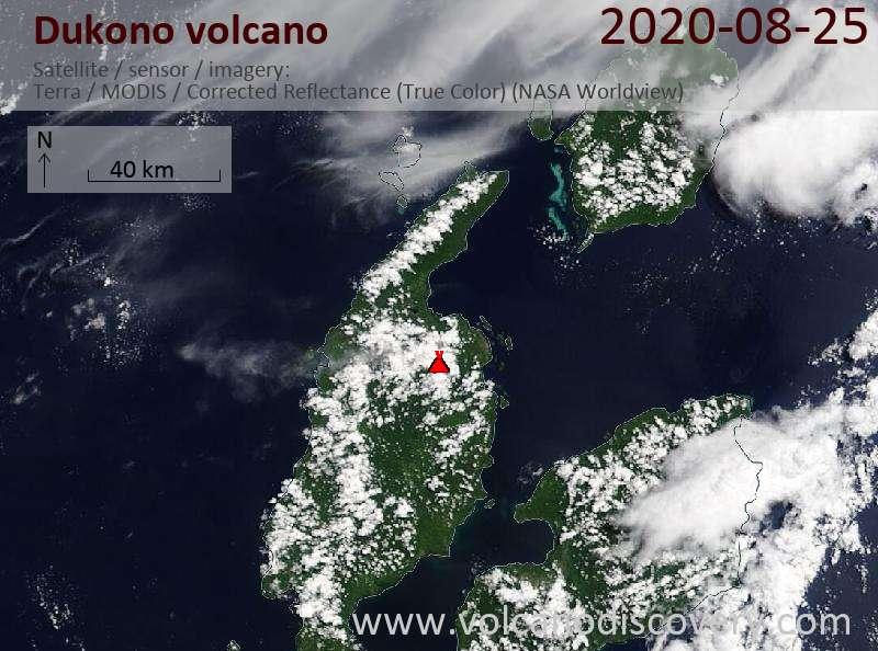 Спутниковое изображение вулкана Dukono 25 Aug 2020