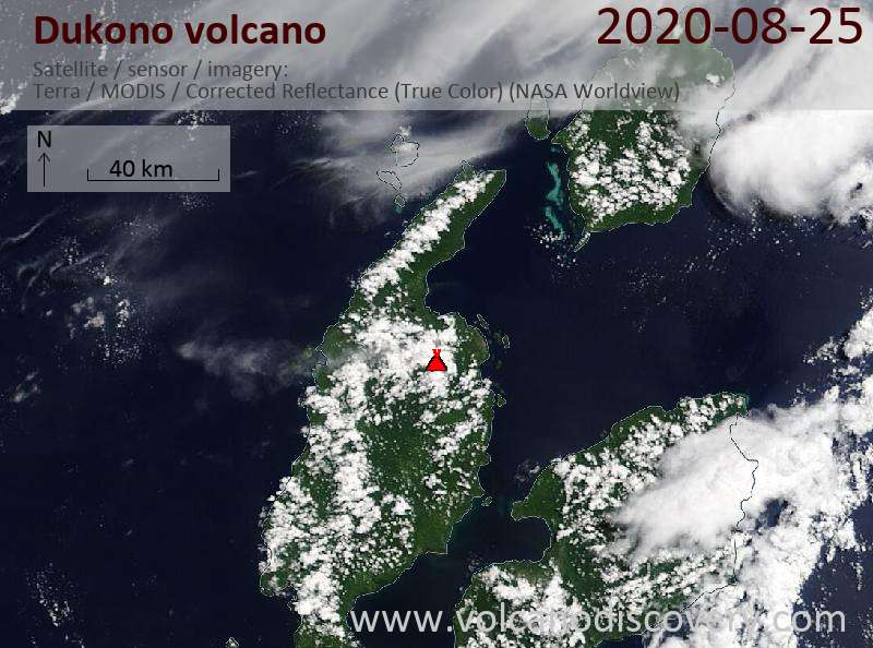 Satellite image of Dukono volcano on 25 Aug 2020