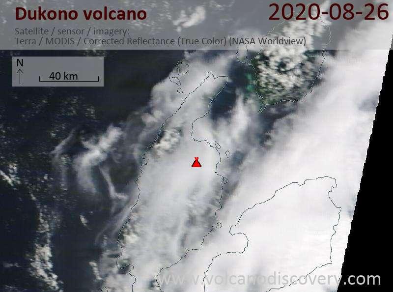 Satellitenbild des Dukono Vulkans am 26 Aug 2020