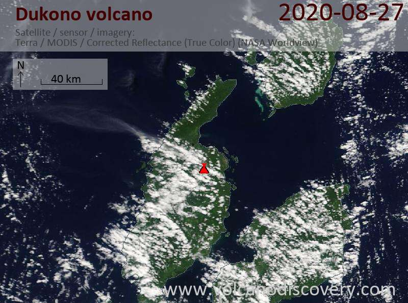 Satellite image of Dukono volcano on 27 Aug 2020