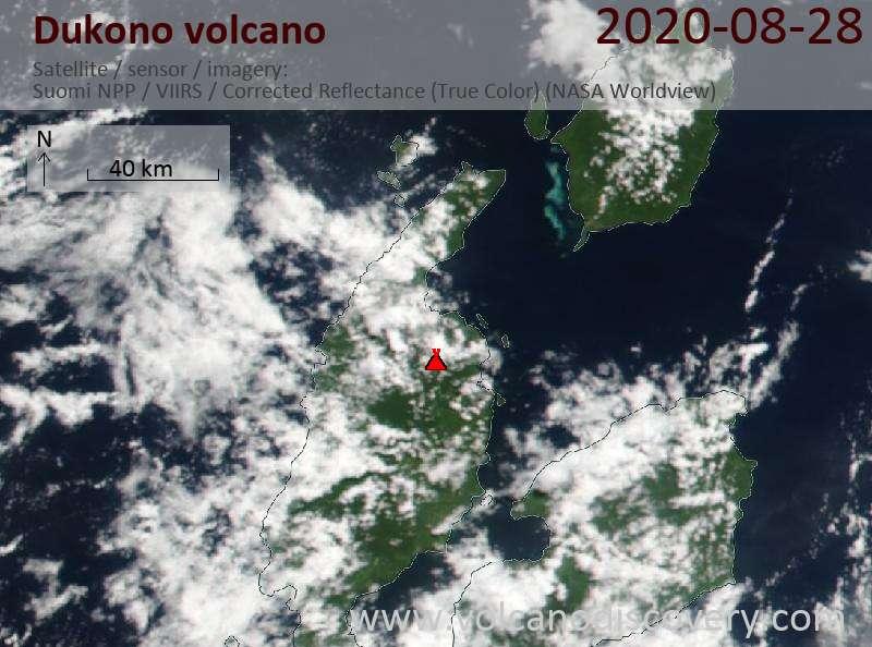 Satellite image of Dukono volcano on 28 Aug 2020