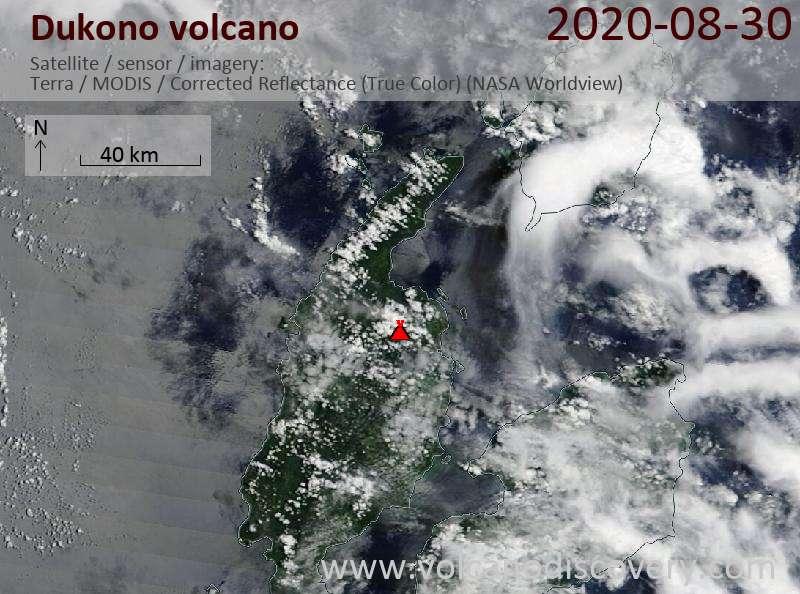 Спутниковое изображение вулкана Dukono 30 Aug 2020