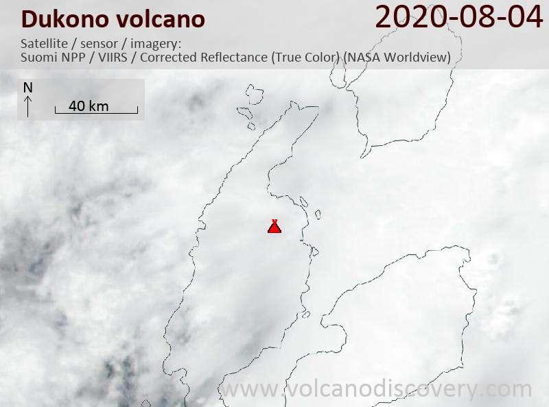 Satellite image of Dukono volcano on  5 Aug 2020