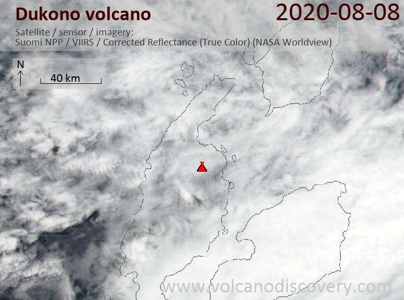 Satellitenbild des Dukono Vulkans am  8 Aug 2020
