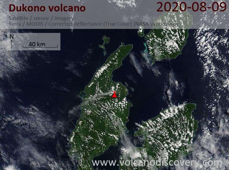 Satellitenbild des Dukono Vulkans am  9 Aug 2020