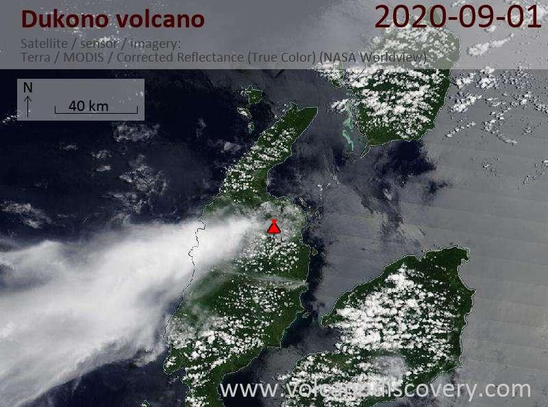 Satellite image of Dukono volcano on  1 Sep 2020