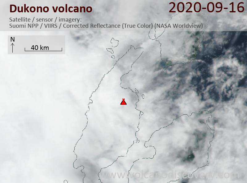 Satellite image of Dukono volcano on 16 Sep 2020
