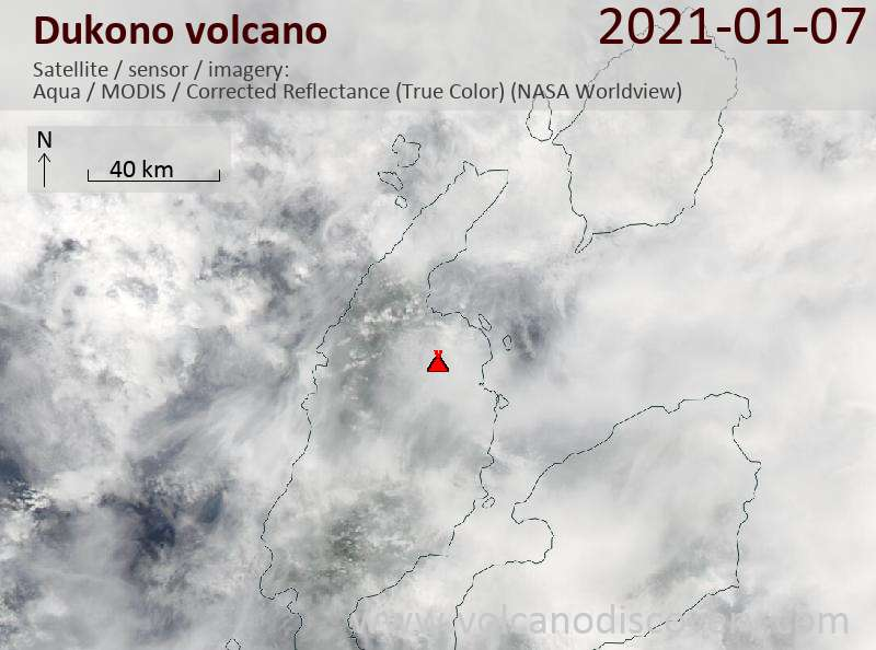 Satellite image of Dukono volcano on  7 Jan 2021