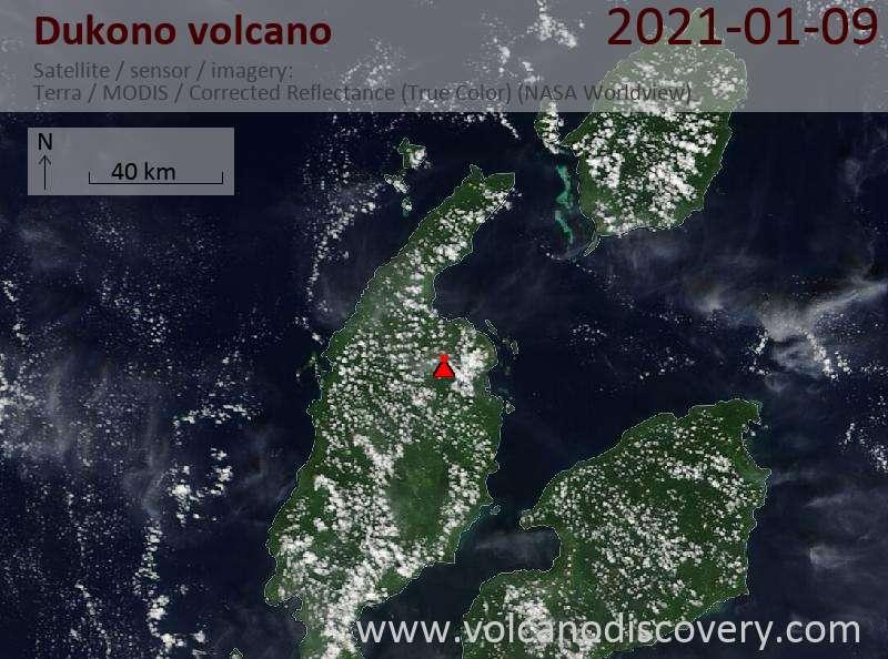 Satellite image of Dukono volcano on  9 Jan 2021