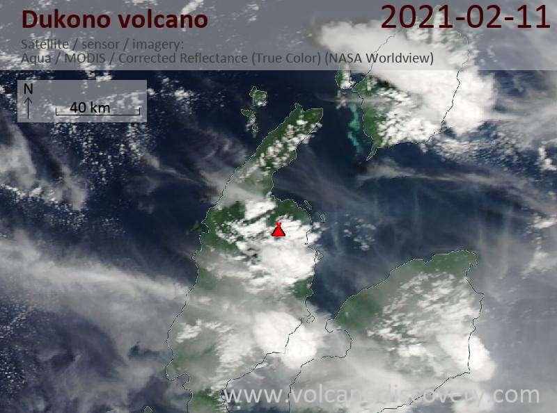 Satellite image of Dukono volcano on 12 Feb 2021