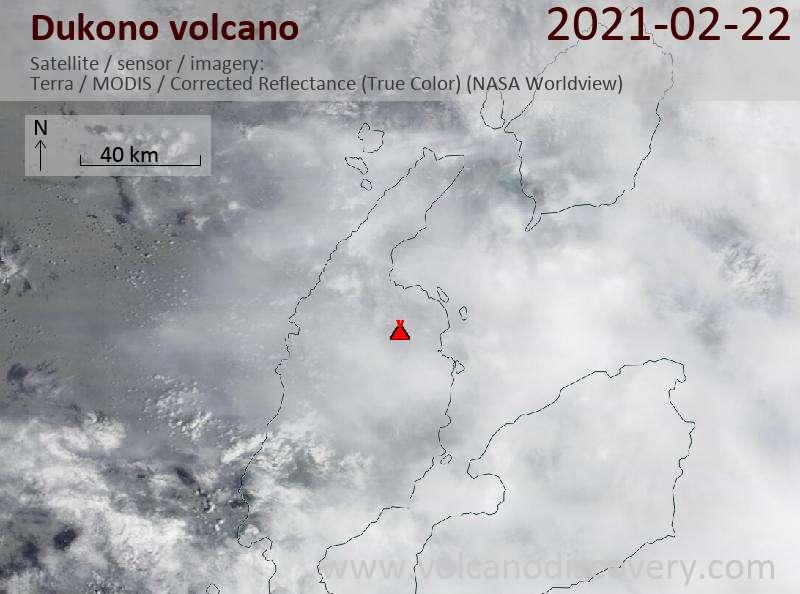 Satellite image of Dukono volcano on 22 Feb 2021