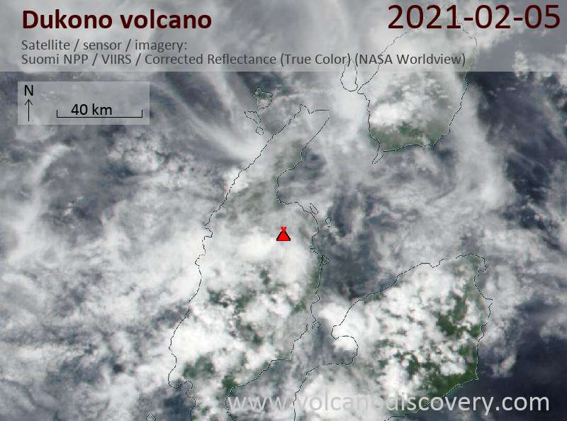Satellite image of Dukono volcano on  5 Feb 2021