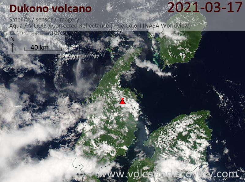 Satellite image of Dukono volcano on 17 Mar 2021