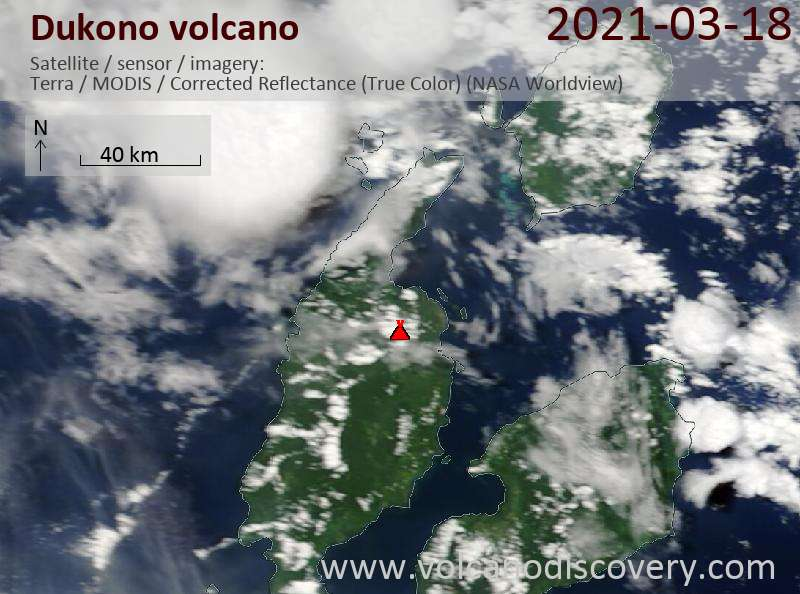 Satellite image of Dukono volcano on 18 Mar 2021