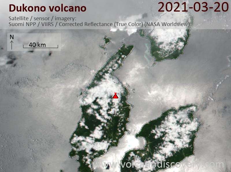 Satellite image of Dukono volcano on 20 Mar 2021
